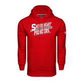 Under Armour Red Performance Sweats Team Hoodie-Sacred Heart Hockey Slanted w/ Banner