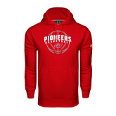Under Armour Red Performance Sweats Team Hoodie-Pioneers Basketball Arched w/ Ball