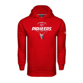 Under Armour Red Performance Sweats Team Hoodie-Pioneers Geometric Lacrosse Head