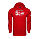 Under Armour Red Performance Sweats Team Hoodie-Pioneers Baseball Script w/ Plate