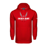 Under Armour Red Performance Sweats Team Hoodie-Sacred Heart Track & Field Abstract Wings
