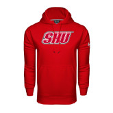 Under Armour Red Performance Sweats Team Hoodie-Primary Logo