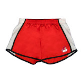 Ladies Red/White Team Short-Secondary Logo