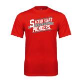 Performance Red Tee-Sacred Heart Hockey Slanted w/ Banner