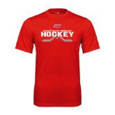 Performance Red Tee-SHU Hockey Crossed Sticks