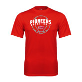 Performance Red Tee-Pioneers Basketball Arched w/ Ball