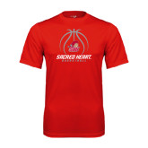 Syntrel Performance Red Tee-Sacred Heart Basketball Stacked