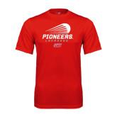 Performance Red Tee-Pioneers Lacrosse Modern