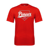 Syntrel Performance Red Tee-Pioneers Baseball Script w/ Plate