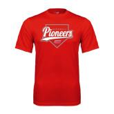Performance Red Tee-Pioneers Baseball Script w/ Plate