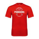 Performance Red Tee-Pioneers Baseball Seams