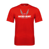Performance Red Tee-Sacred Heart Track & Field Abstract Wings