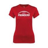 Ladies Syntrel Performance Red Tee-Pioneers Football Horizontal