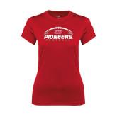 Ladies Syntrel Performance Red Tee-Pioneers Football Horizontal