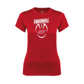 Ladies Syntrel Performance Red Tee-SHU Football
