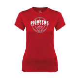 Ladies Syntrel Performance Red Tee-Pioneers Basketball Arched w/ Ball