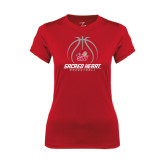 Ladies Syntrel Performance Red Tee-Sacred Heart Basketball Stacked