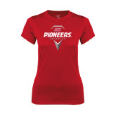 Ladies Syntrel Performance Red Tee-Pioneers Geometric Lacrosse Head