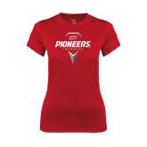 Ladies Syntrel Performance Red Tee-Pioneers Geometric Lacrosse Head