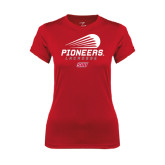 Ladies Syntrel Performance Red Tee-Pioneers Lacrosse Modern