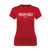 Ladies Syntrel Performance Red Tee-Track & Field w/ Bar