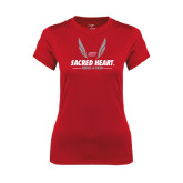Ladies Syntrel Performance Red Tee-Sacred Heart Track & Field Abstract Wings