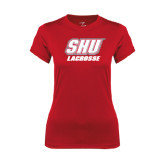 Ladies Syntrel Performance Red Tee-Lacrosse