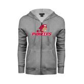 ENZA Ladies Grey Fleece Full Zip Hoodie-Pioneers w/ Pioneer