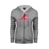 ENZA Ladies Grey Fleece Full Zip Hoodie-Sacred Heart w/ Pioneer
