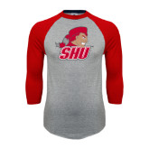 Grey/Red Raglan Baseball T Shirt-Secondary Logo
