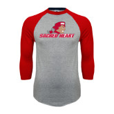 Grey/Red Raglan Baseball T Shirt-Sacred Heart w/ Pioneer