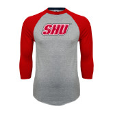 Grey/Red Raglan Baseball T Shirt-Primary Logo Distressed