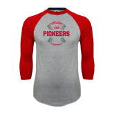 Grey/Red Raglan Baseball T Shirt-Pioneers Baseball Seams