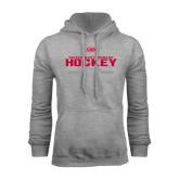 Grey Fleece Hoodie-SHU Hockey Crossed Sticks