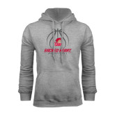 Grey Fleece Hoodie-Sacred Heart Basketball Stacked