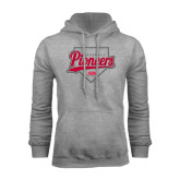 Grey Fleece Hoodie-Pioneers Baseball Script w/ Plate