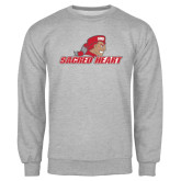Grey Fleece Crew-Sacred Heart w/ Pioneer