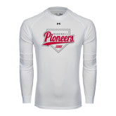 Under Armour White Long Sleeve Tech Tee-Pioneers Baseball Script w/ Plate