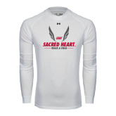 Under Armour White Long Sleeve Tech Tee-Sacred Heart Track & Field Abstract Wings