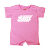 Bubble Gum Pink Infant Romper-Primary Logo