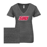 ENZA Ladies Graphite Melange V Neck Tee-Primary Logo