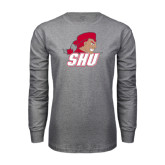 Grey Long Sleeve T Shirt-Secondary Logo