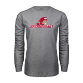 Grey Long Sleeve T Shirt-Sacred Heart w/ Pioneer