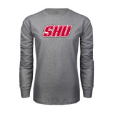 Grey Long Sleeve T Shirt-Primary Logo Distressed