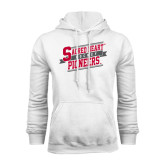 White Fleece Hoodie-Sacred Heart Hockey Slanted w/ Banner