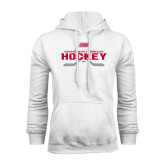 White Fleece Hoodie-SHU Hockey Crossed Sticks