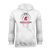 White Fleece Hoodie-Sacred Heart Basketball Stacked