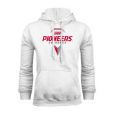 White Fleece Hoodie-Pioneers Geometric Lacrosse Head