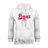 White Fleece Hoodie-Pioneers Baseball Script w/ Plate
