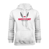 White Fleece Hoodie-Sacred Heart Track & Field Abstract Wings